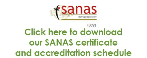 SANAS accrediation schedule